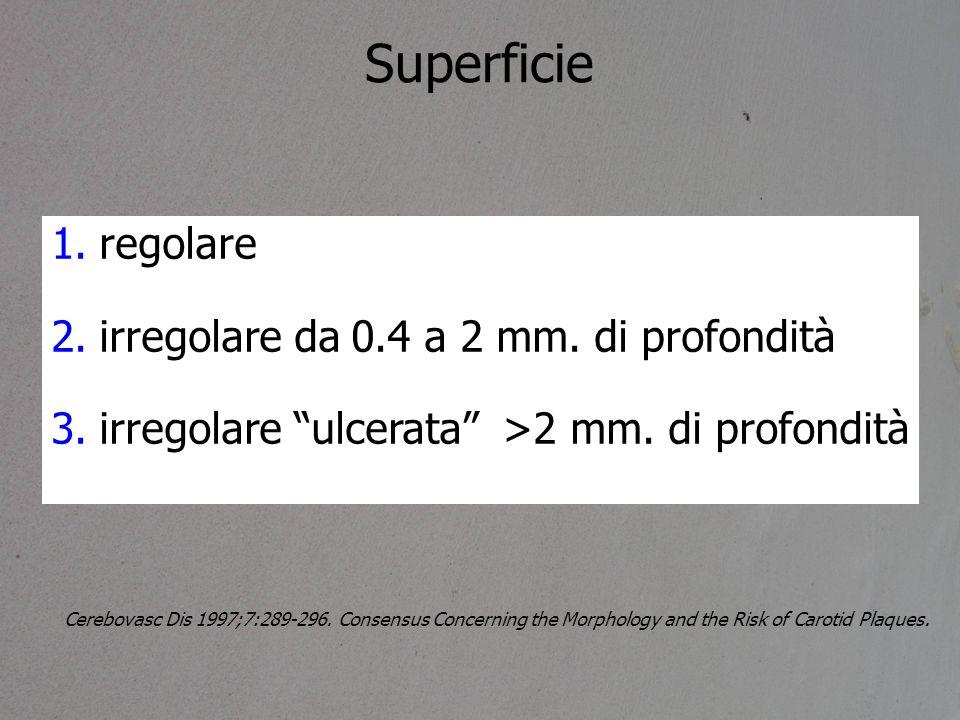 Superficie regolare irregolare da 0.4 a 2 mm. di profondità