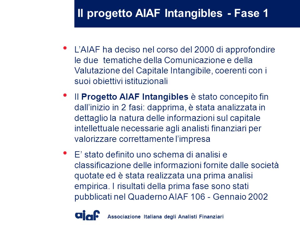 Il progetto AIAF Intangibles - Fase 1