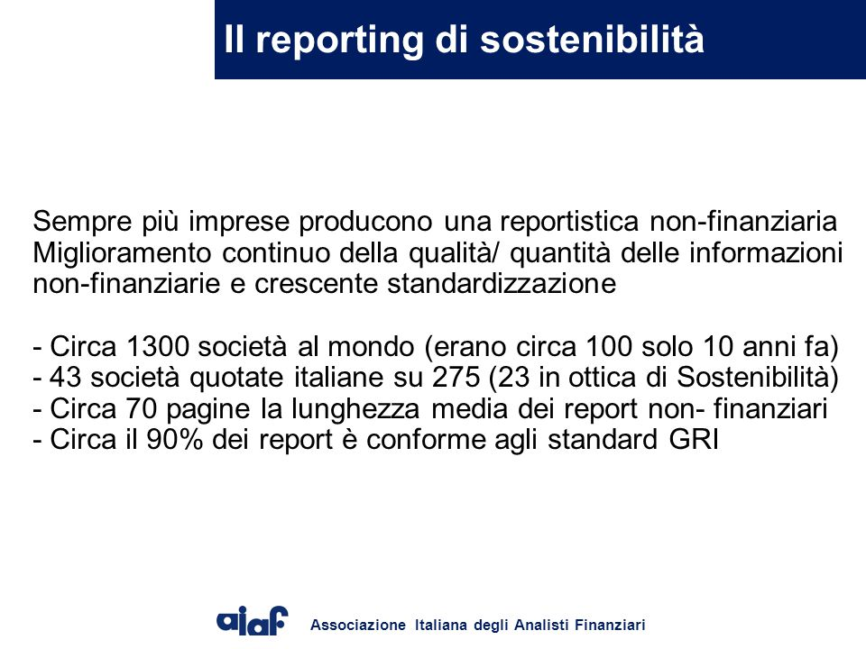 Il reporting di sostenibilità