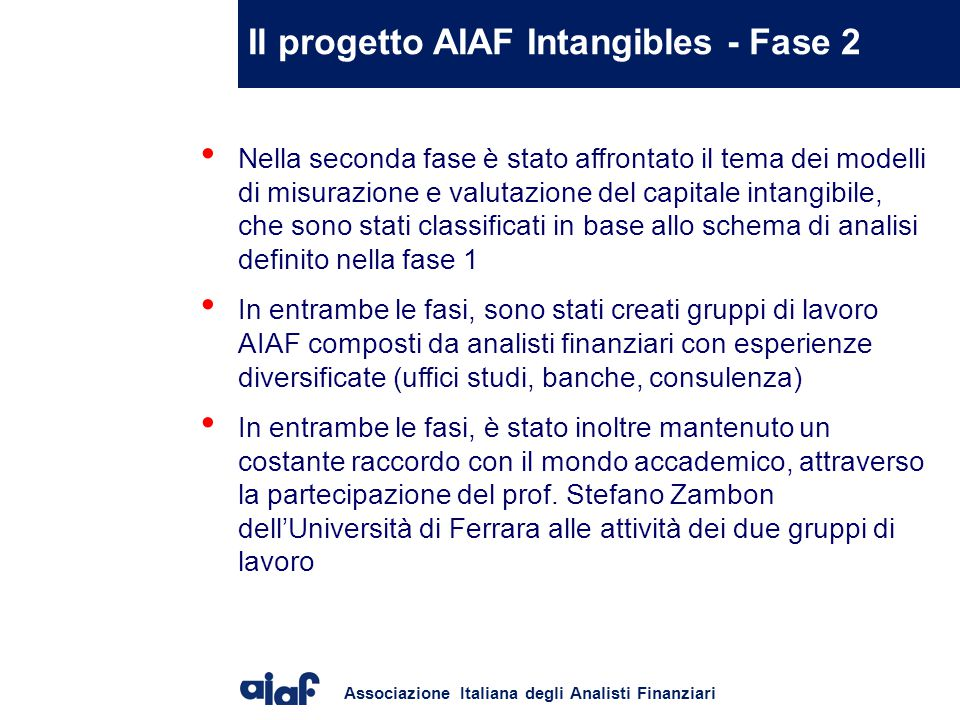 Il progetto AIAF Intangibles - Fase 2