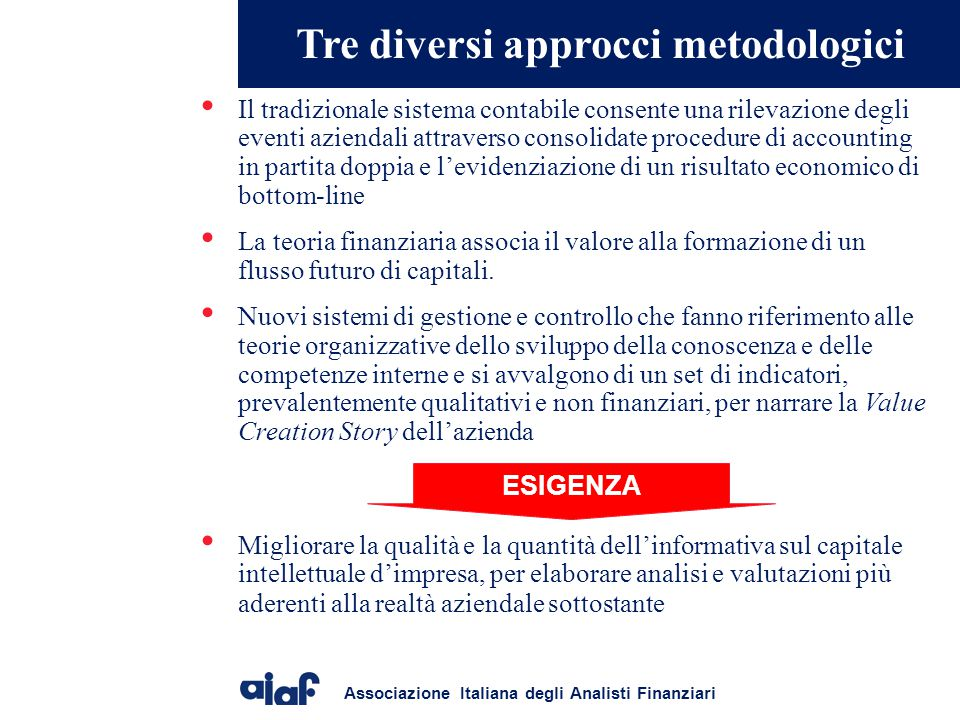 Tre diversi approcci metodologici