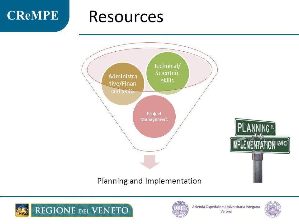 Resources Planning and Implementation Technical/Scientific skills