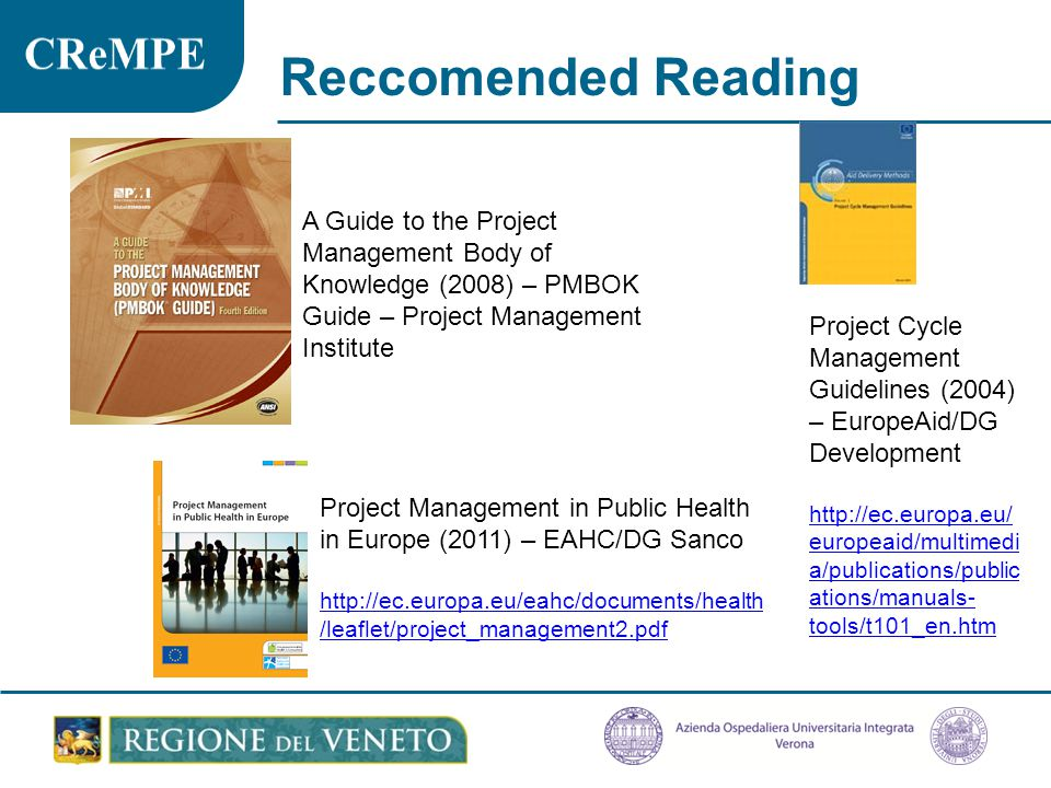 Reccomended Reading A Guide to the Project Management Body of Knowledge (2008) – PMBOK Guide – Project Management Institute.