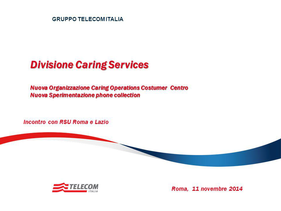 GRUPPO TELECOM ITALIA Divisione Caring Services Nuova Organizzazione Caring Operations Costumer Centro Nuova Sperimentazione phone collection.