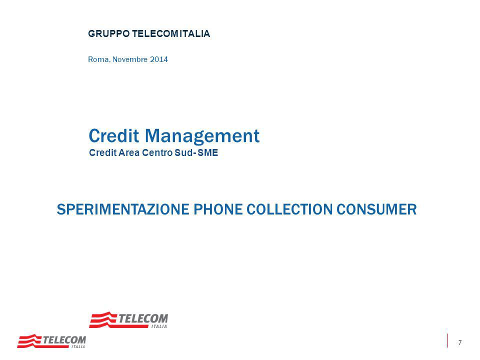 Credit Management SPERIMENTAZIONE PHONE COLLECTION CONSUMER