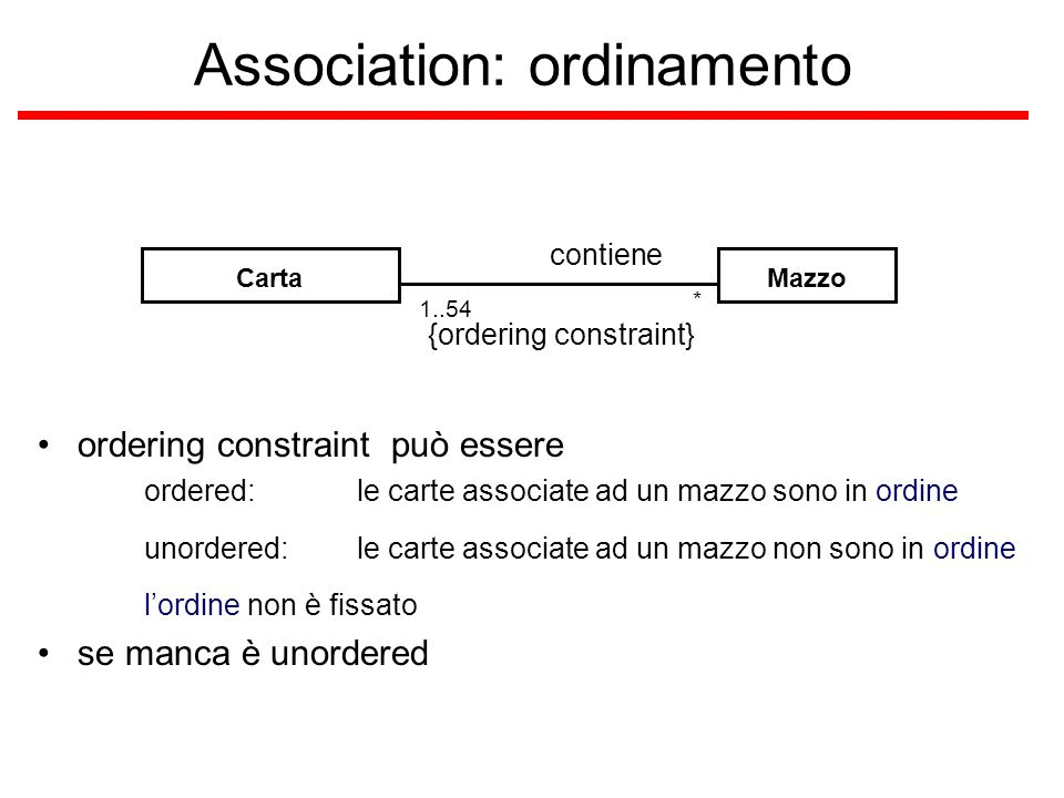 Association: ordinamento