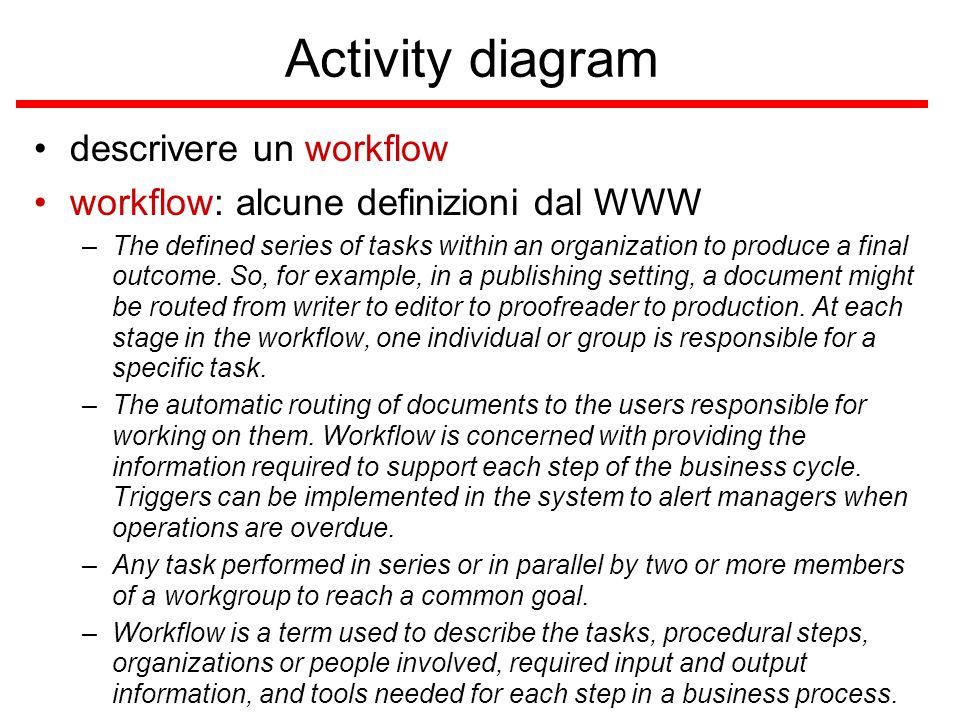 Activity diagram descrivere un workflow