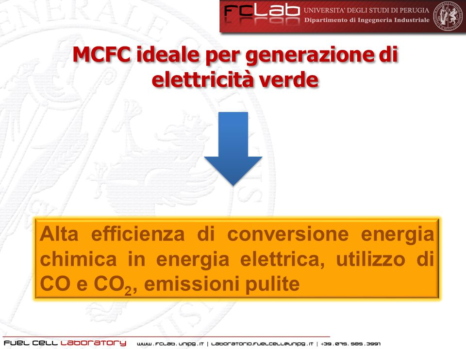 MCFC ideale per generazione di elettricità verde