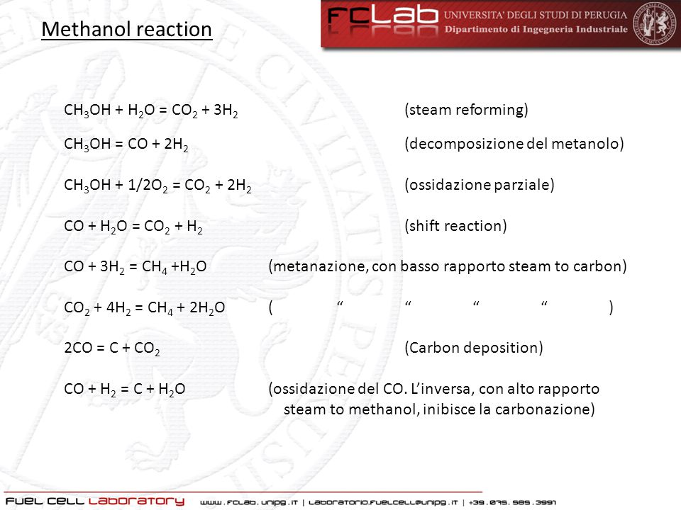 Methanol reaction CH3OH + H2O = CO2 + 3H2 (steam reforming)
