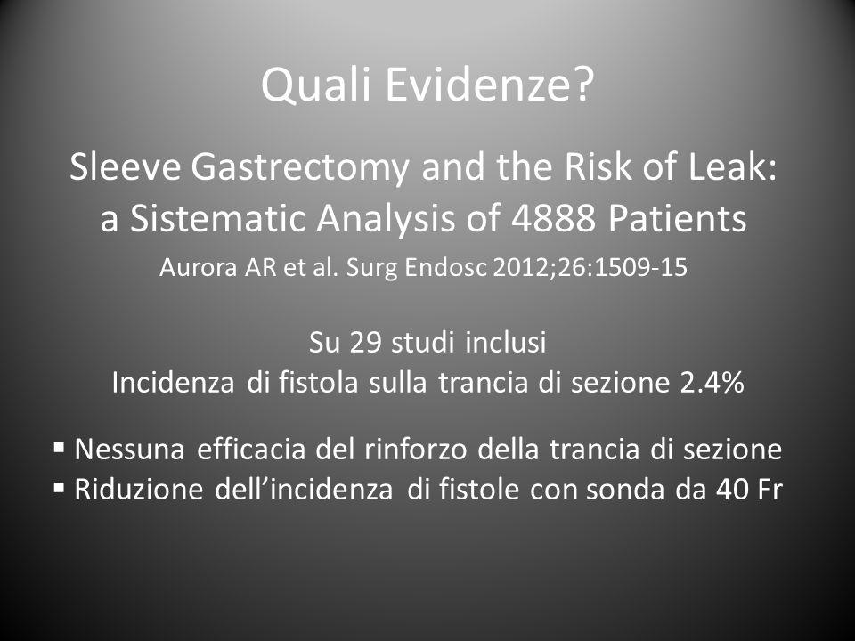 Quali Evidenze Sleeve Gastrectomy and the Risk of Leak: a Sistematic Analysis of 4888 Patients. Aurora AR et al. Surg Endosc 2012;26:1509-15.