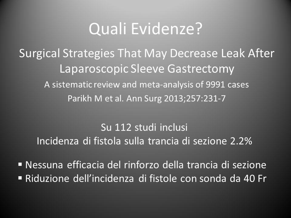 Quali Evidenze Surgical Strategies That May Decrease Leak After Laparoscopic Sleeve Gastrectomy.