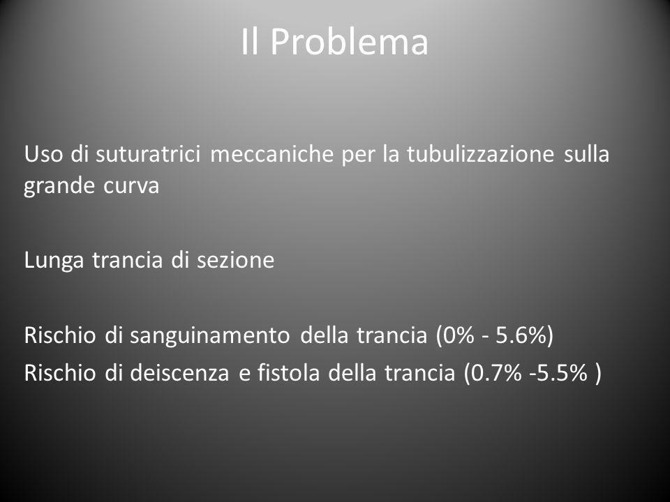 Il Problema Uso di suturatrici meccaniche per la tubulizzazione sulla grande curva. Lunga trancia di sezione.
