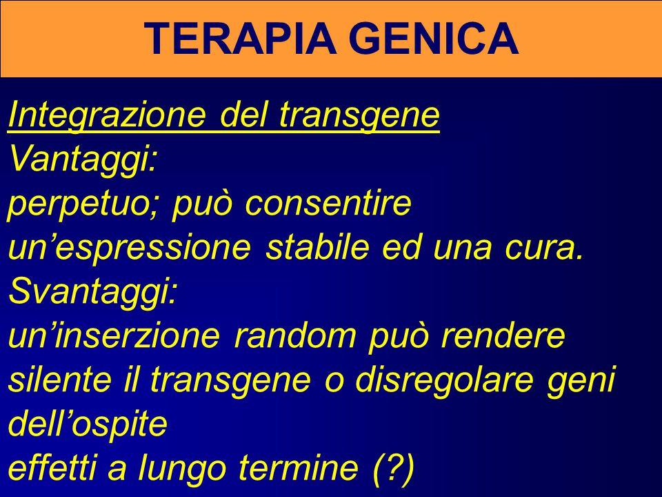 TERAPIA GENICA Integrazione del transgene Vantaggi: