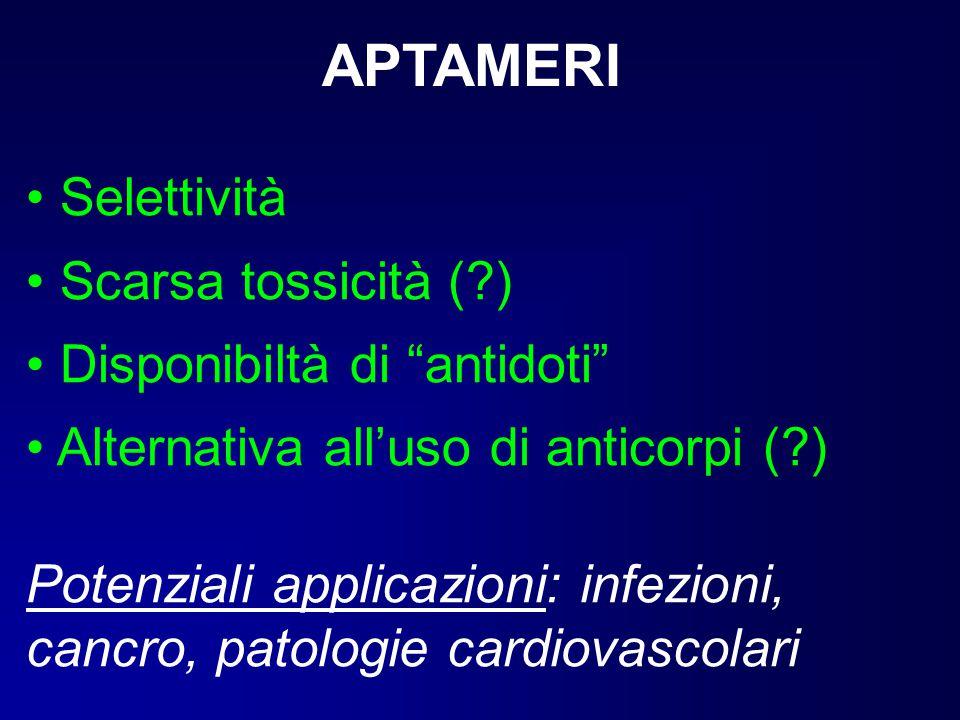 APTAMERI Selettività Scarsa tossicità ( ) Disponibiltà di antidoti