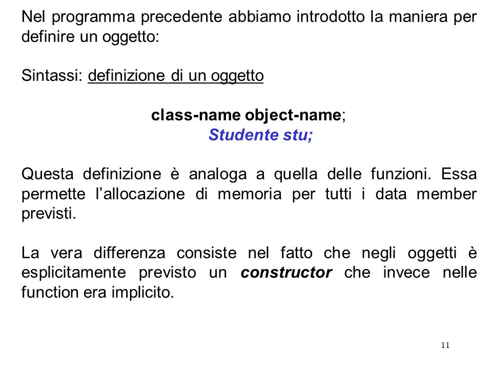 class-name object-name;
