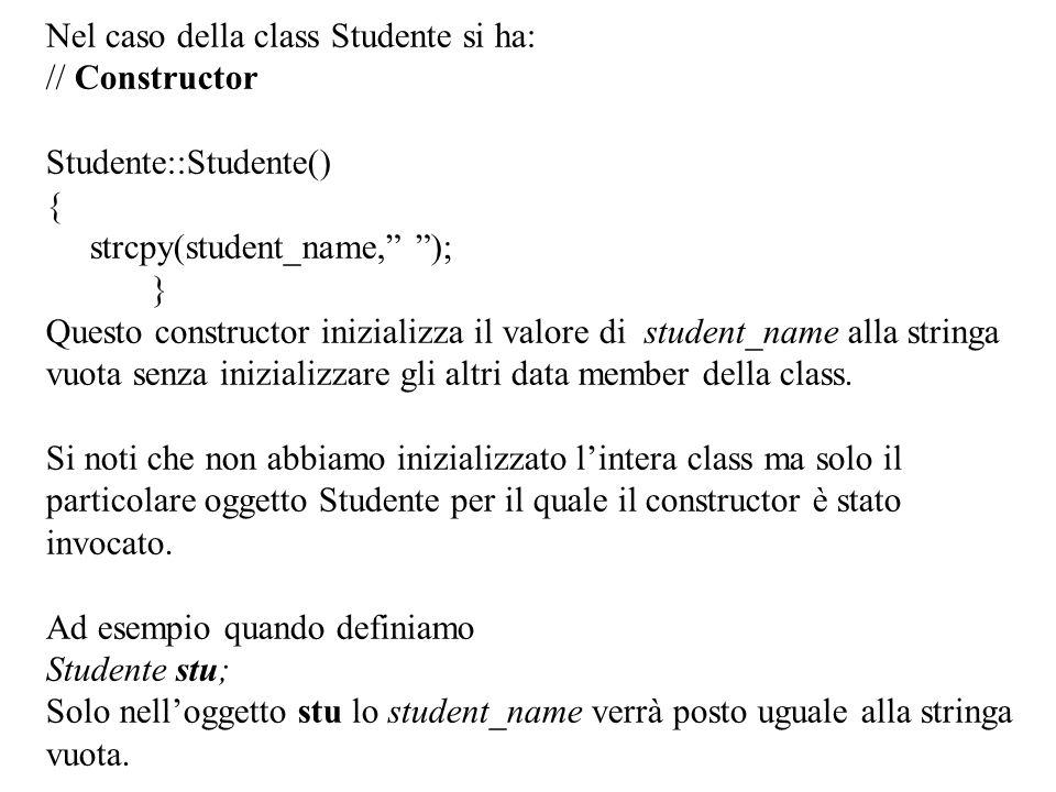 Nel caso della class Studente si ha:
