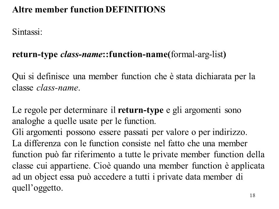 Altre member function DEFINITIONS