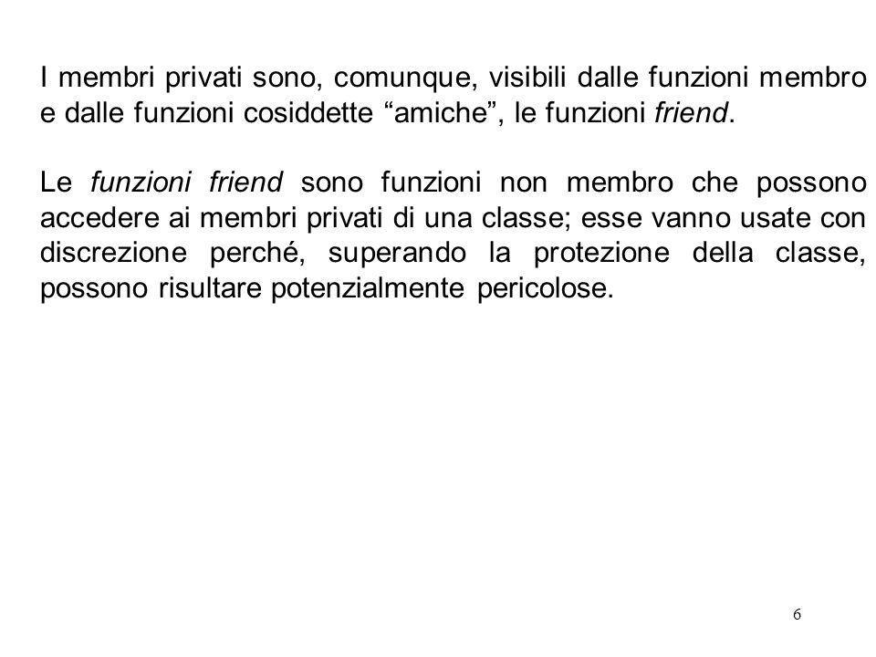 I membri privati sono, comunque, visibili dalle funzioni membro e dalle funzioni cosiddette amiche , le funzioni friend.