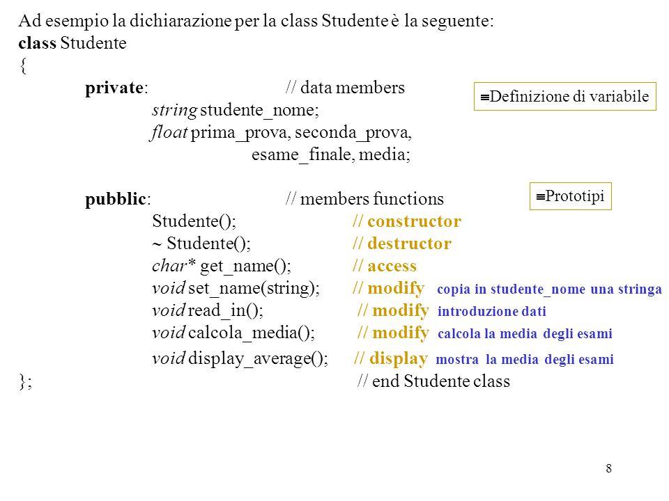 Ad esempio la dichiarazione per la class Studente è la seguente: