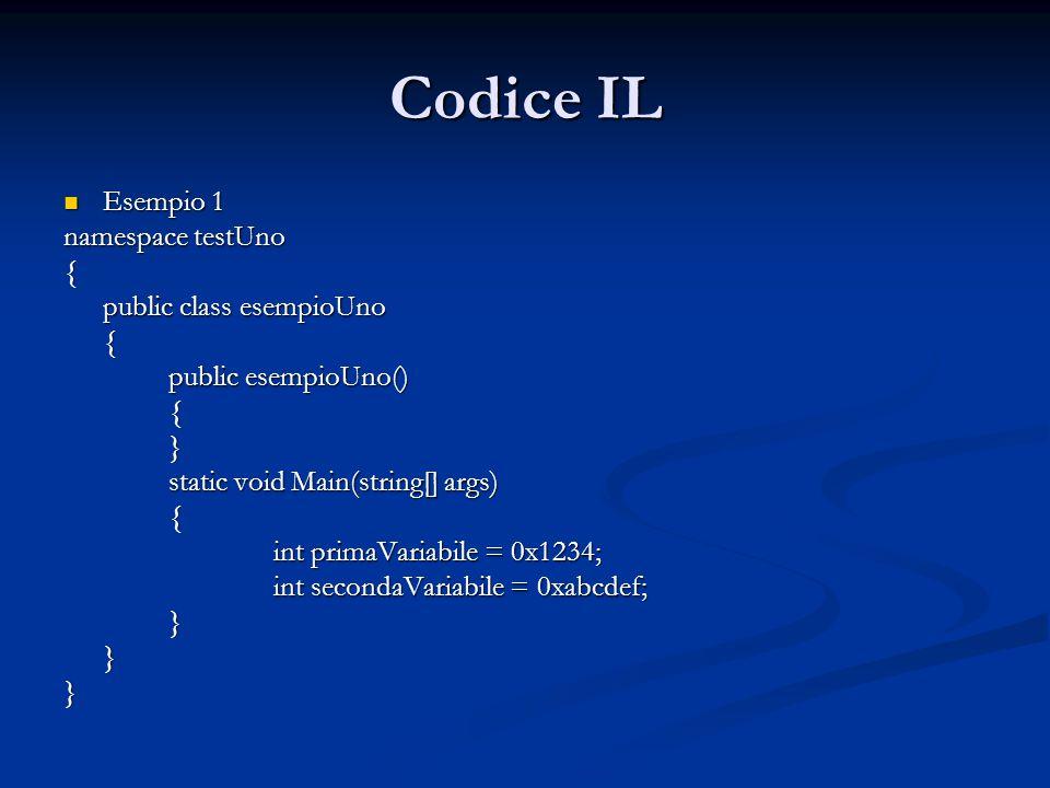 Codice IL Esempio 1 namespace testUno { public class esempioUno
