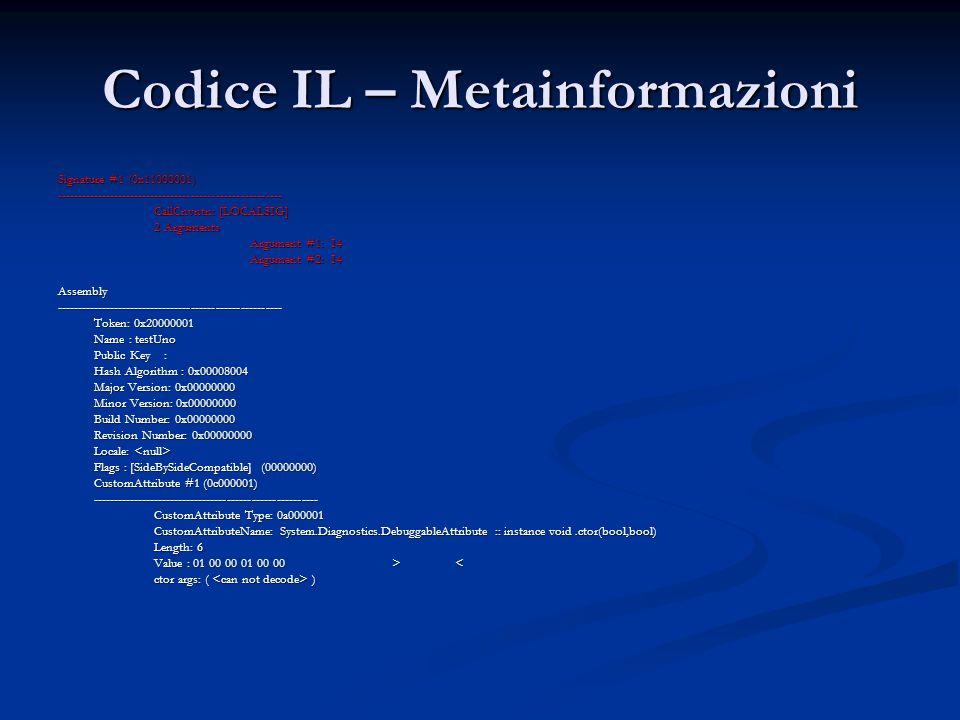 Codice IL – Metainformazioni