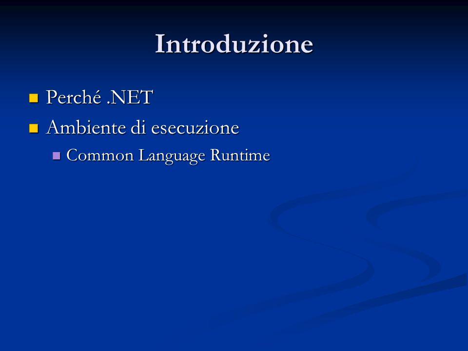 Introduzione Perché .NET Ambiente di esecuzione