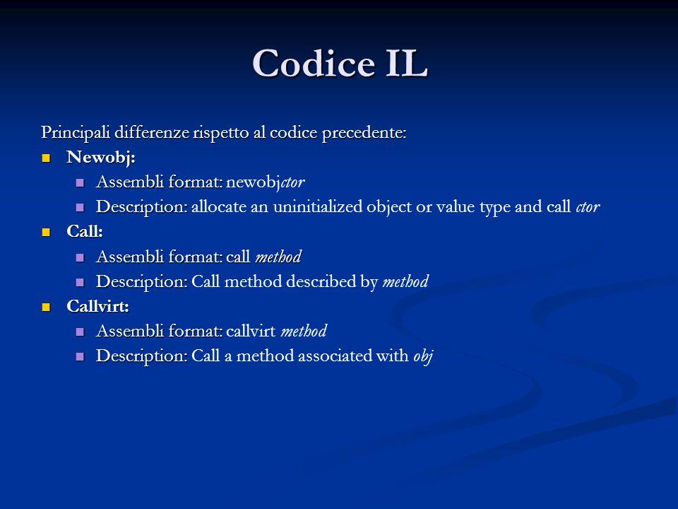 Codice IL Principali differenze rispetto al codice precedente: Newobj: