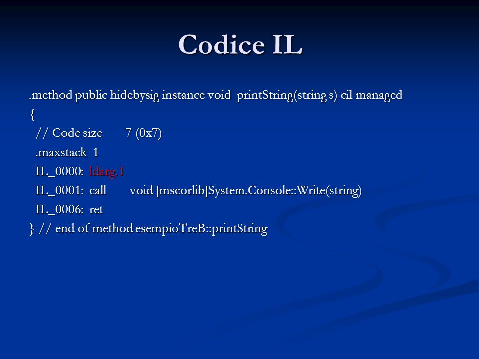 Codice IL .method public hidebysig instance void printString(string s) cil managed. { // Code size 7 (0x7)