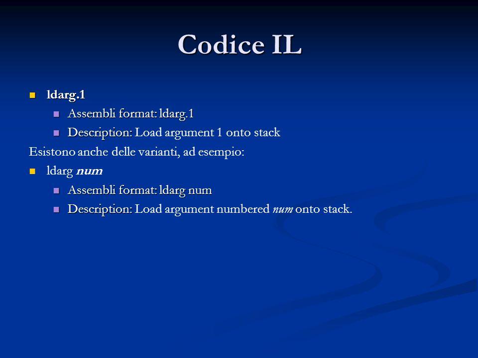Codice IL ldarg.1 Assembli format: ldarg.1