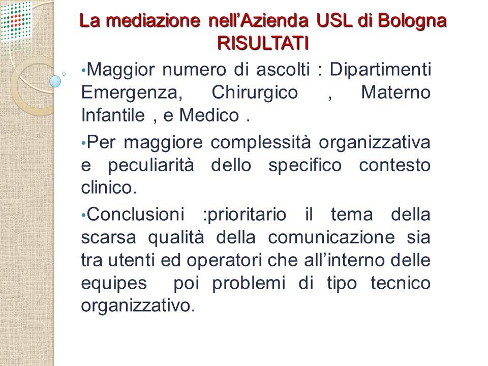 La mediazione nell'Azienda USL di Bologna