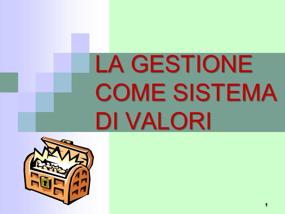 LA GESTIONE COME SISTEMA DI VALORI