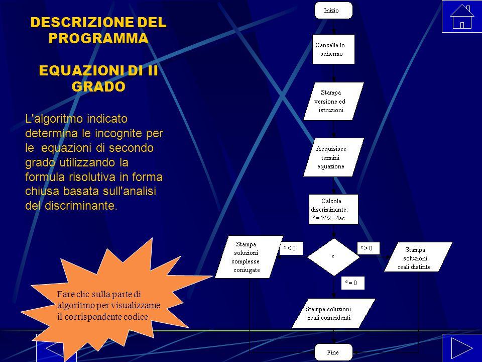 DESCRIZIONE DEL PROGRAMMA EQUAZIONI DI II GRADO