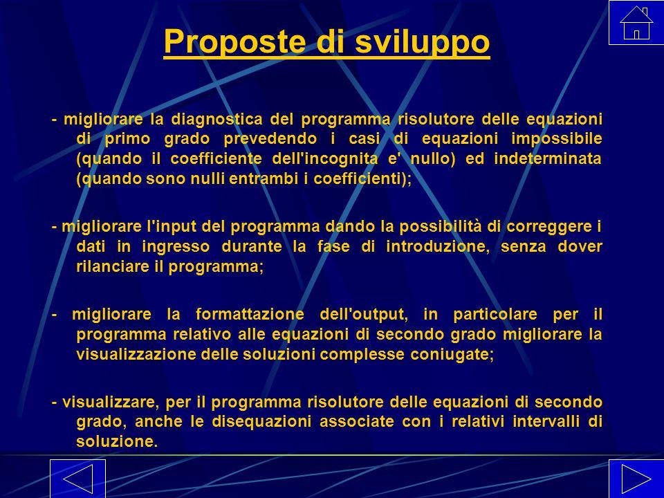 Proposte di sviluppo