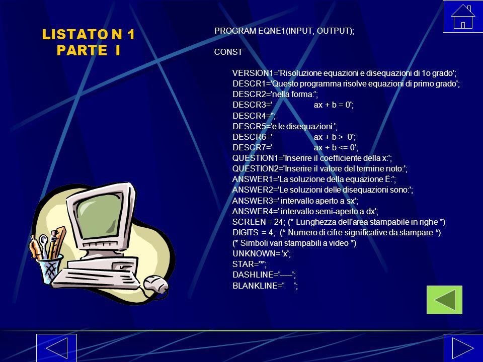 LISTATO N 1 PARTE I PROGRAM EQNE1(INPUT, OUTPUT); CONST