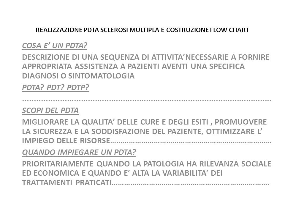 REALIZZAZIONE PDTA SCLEROSI MULTIPLA E COSTRUZIONE FLOW CHART