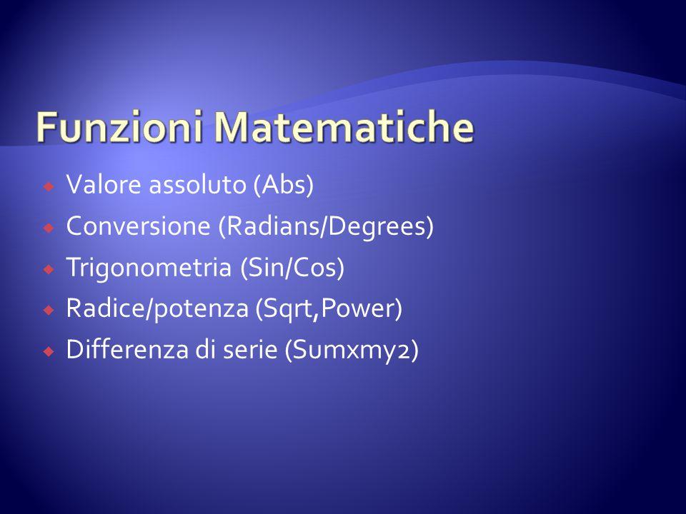 Funzioni Matematiche Valore assoluto (Abs)