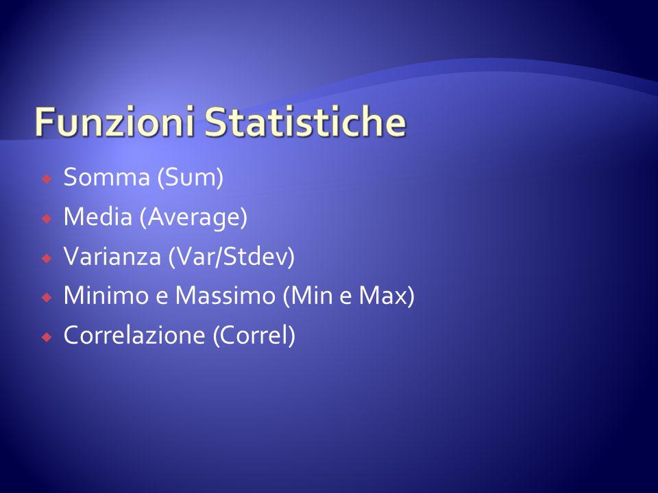Funzioni Statistiche Somma (Sum) Media (Average) Varianza (Var/Stdev)