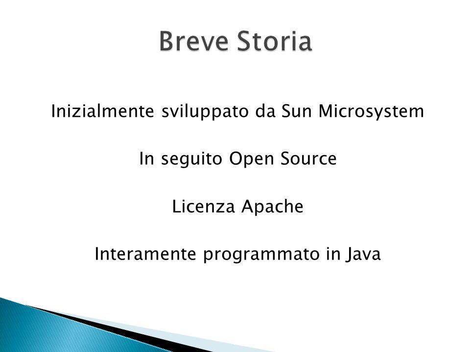 Breve Storia Inizialmente sviluppato da Sun Microsystem In seguito Open Source Licenza Apache Interamente programmato in Java