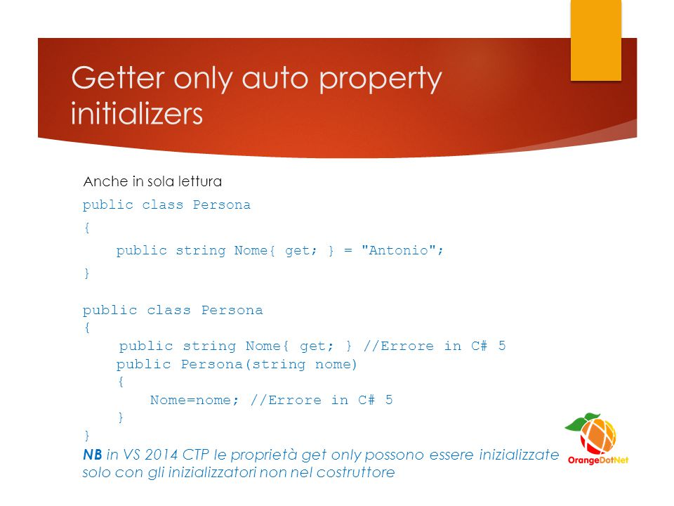 Getter only auto property initializers