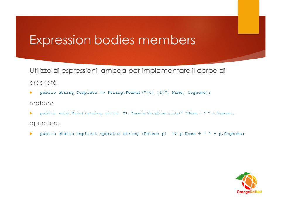 Expression bodies members