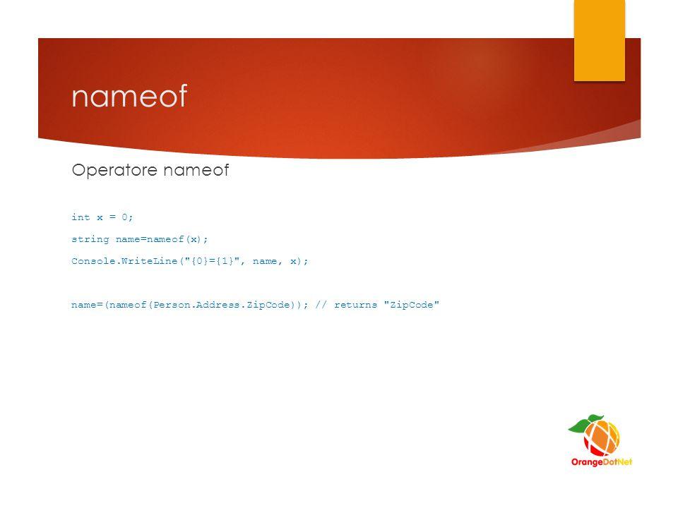 nameof Operatore nameof