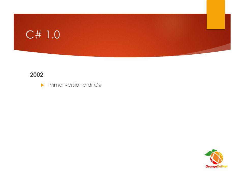 C# 1.0 2002 Prima versione di C# Linguaggio ufficiale di .NET