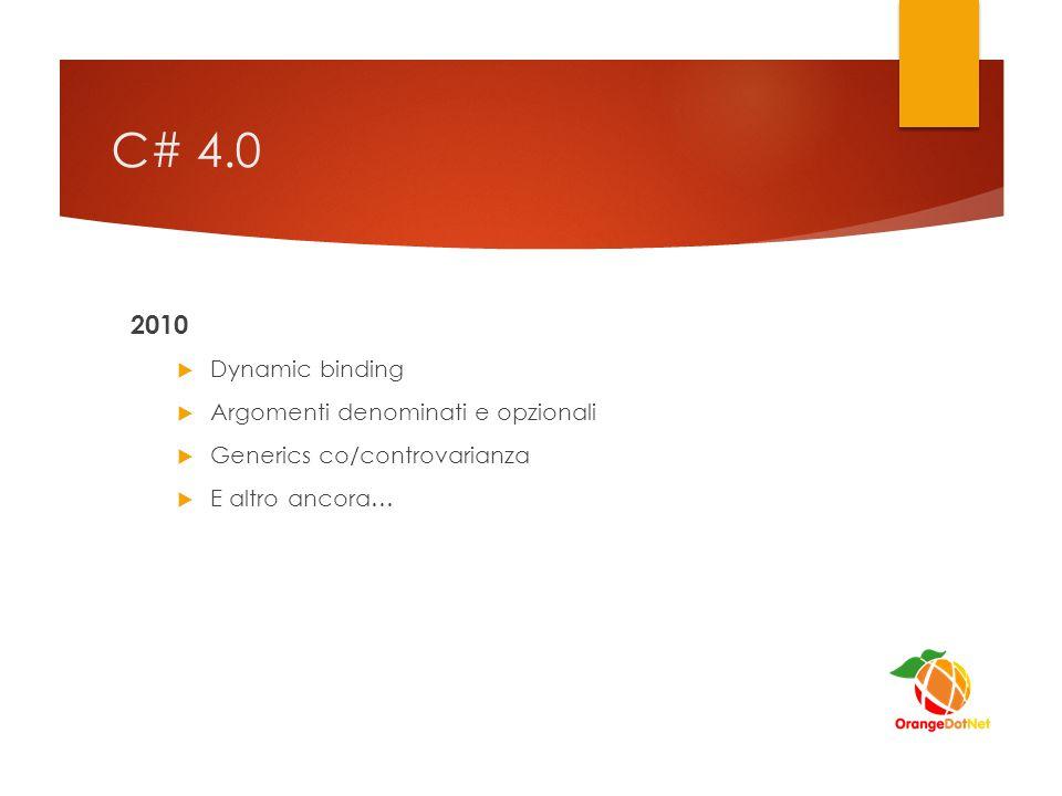 C# 4.0 2010 Dynamic binding Argomenti denominati e opzionali