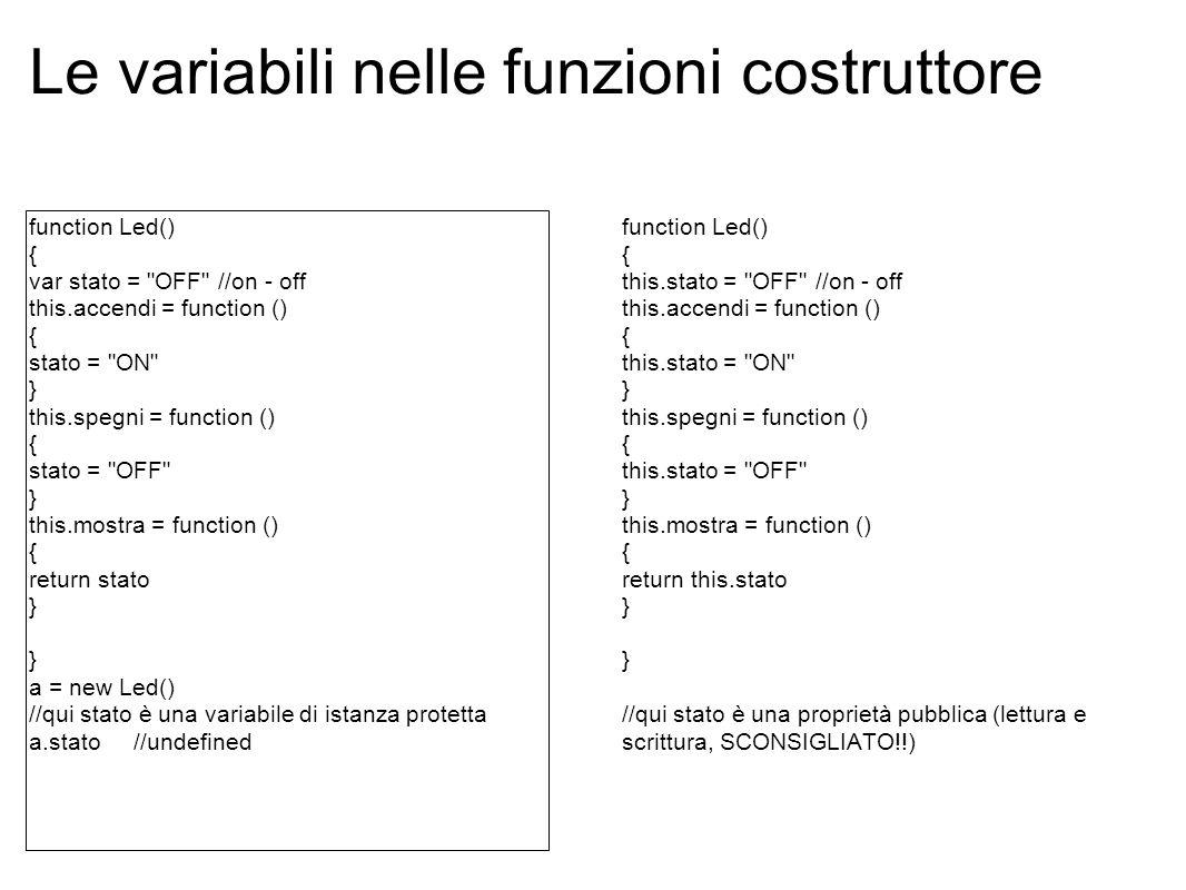 Le variabili nelle funzioni costruttore