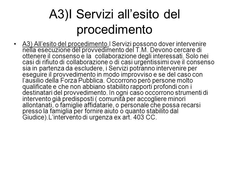 A3)I Servizi all'esito del procedimento