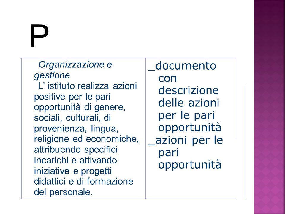 P _documento con descrizione delle azioni per le pari opportunità
