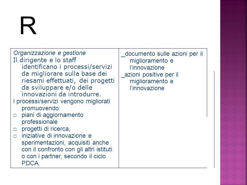 R _documento sulle azioni per il miglioramento e l'innovazione