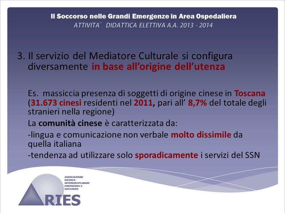 3. Il servizio del Mediatore Culturale si configura diversamente in base all'origine dell'utenza
