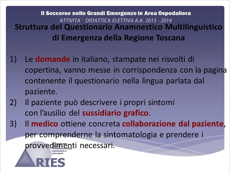 di Emergenza della Regione Toscana