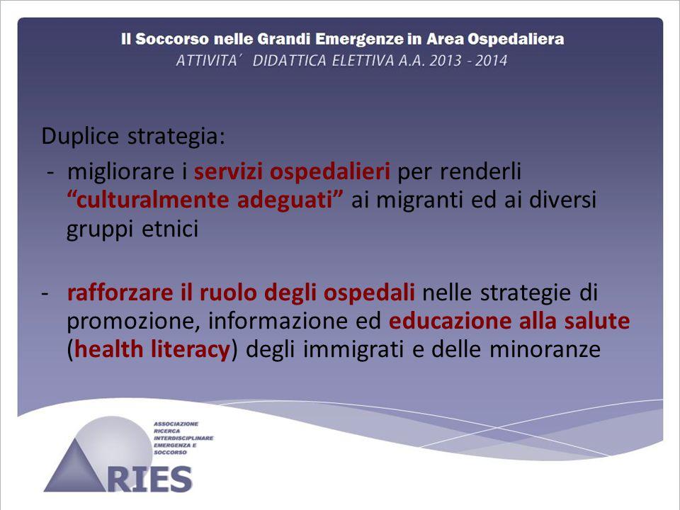 Duplice strategia: - migliorare i servizi ospedalieri per renderli culturalmente adeguati ai migranti ed ai diversi gruppi etnici.